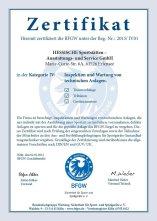 BFGW-Zertifikat für Inspektion und Wartung von technischen Anlagen