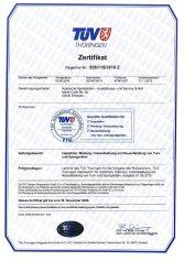 Zertifikat vom TÜV Thüringen